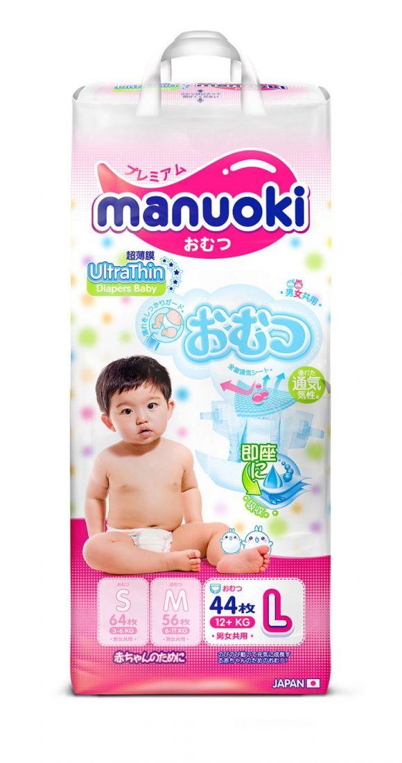 Manuoki UltraThin (Ультратонкая серия) подгузники L 12+кг, 44 шт