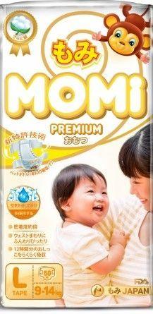 MOMI Premium подгузники  L 9-14 кг 50 шт