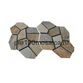 PAV-105 сланец. Брусчатка серия PAVING,  размер, мм: 4шт-1 кв.м, 10~15 (NS Mosaic)