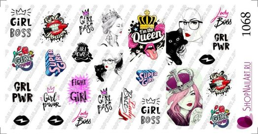Слайдер-дизайн 1068 - Надписи и рисунки. Girl power, Girl Boss, I'm the Queen. Слова