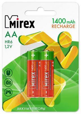 Аккумулятор Ni-MH Mirex HR6 / AA 1400mAh 1,2V 2 шт (2/20/100)