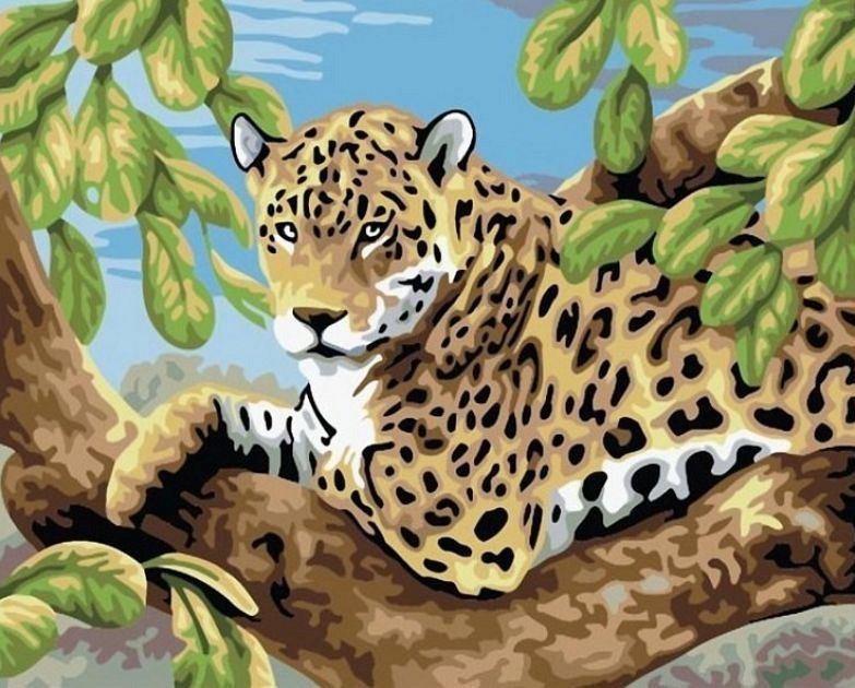 """""""Леопард"""" живопись на холсте 30х40см"""
