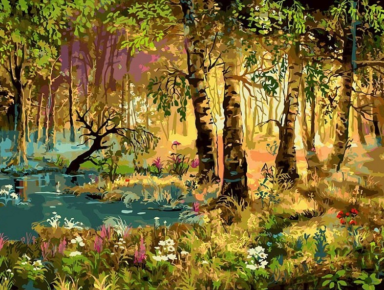"""""""Утро в лесу"""" живопись на холсте 30*40см"""