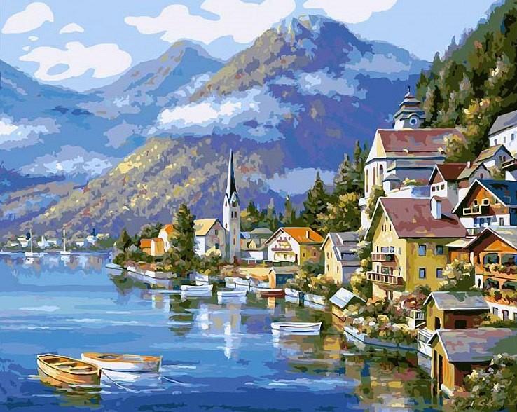 """Хальштадт. Австрия"" живопись на холсте 40*50см"
