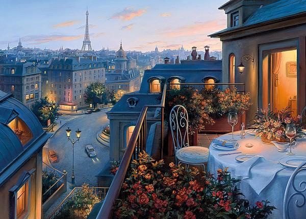 """""""Парижский балкон"""" живопись на холсте 40х50см"""