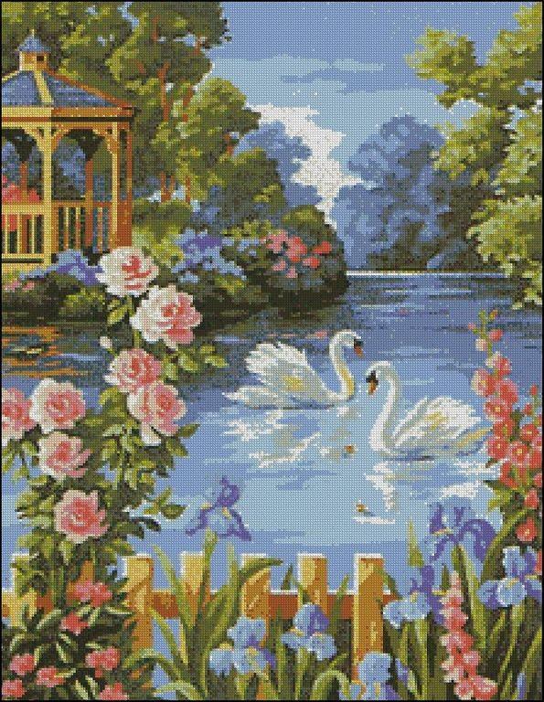 """""""Лебеди на пруду"""" живопись на холсте 40х50см"""