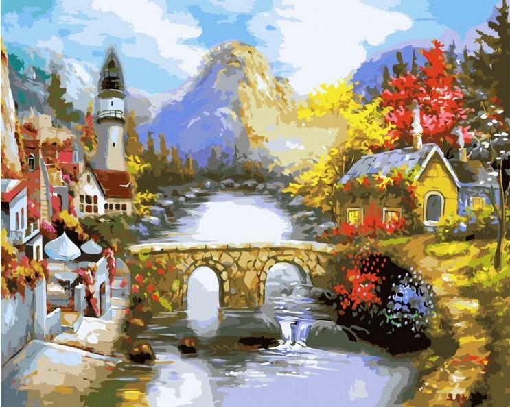 """""""Мост через реку"""" живопись на холсте 40х50см"""