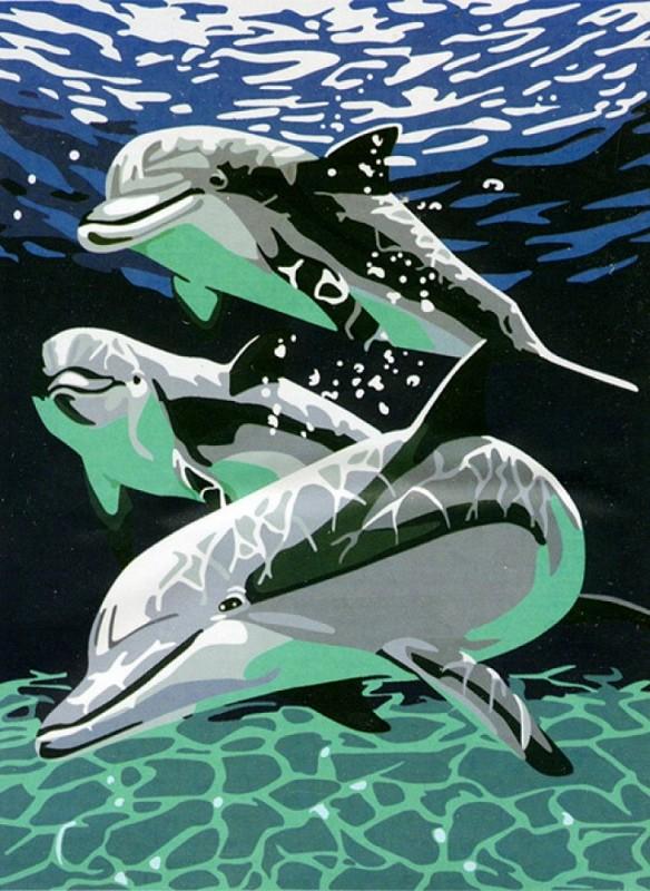 """""""Дельфины"""" живопись на холсте 30х40см"""