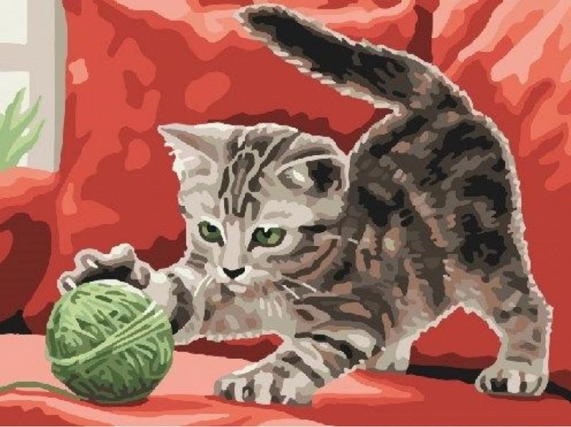 """""""Игривый котенок"""" живопись на холсте 30х40см"""