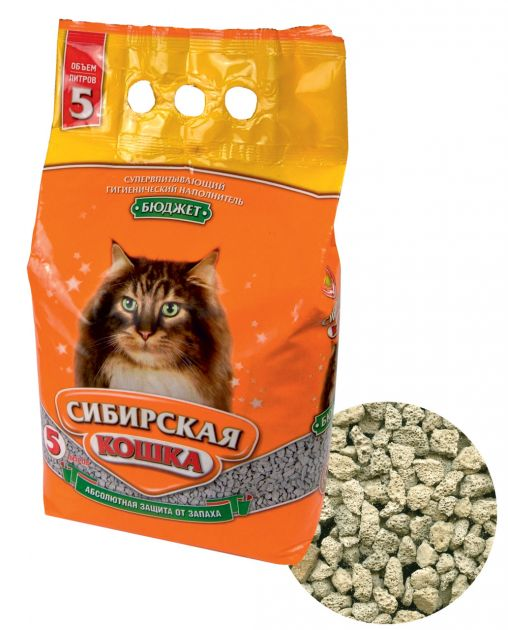 Наполнитель д/туалетов Сибирская кошка Бюджет 5л Впитывающий