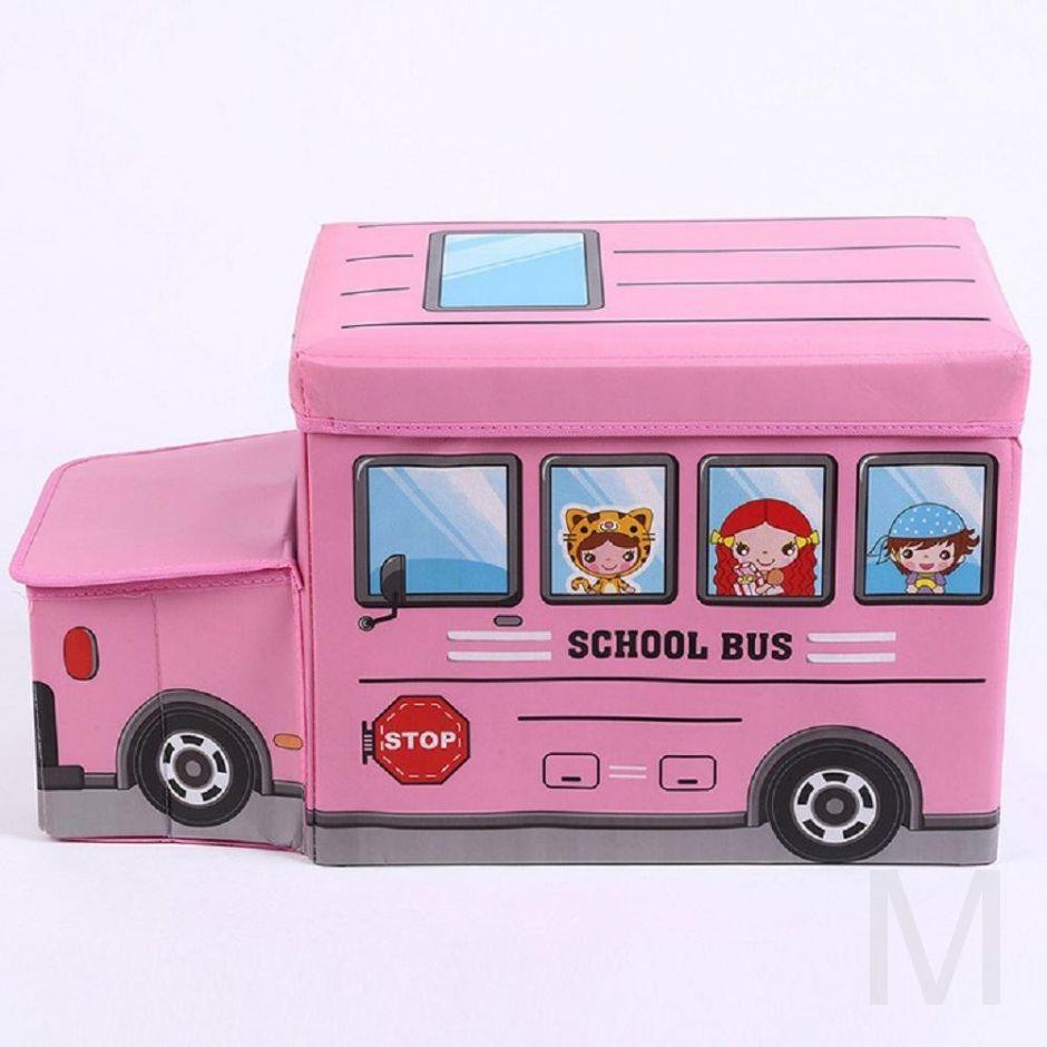 Короб для хранения игрушек Автобус, 2 отделения (розовый)
