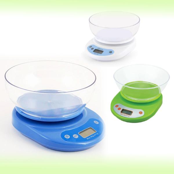 Электронные кухонные весы с чашей, 5 кг/1,2 л
