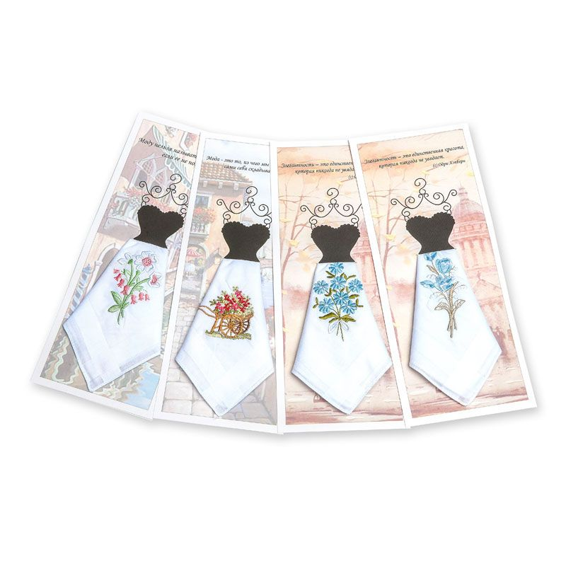 Подарочный женский носовой платок Пс03 100% х/б