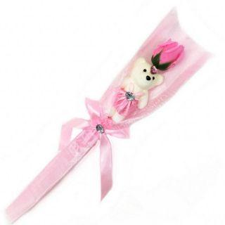 Сувенир ароматизированная роза из мыла с мишкой, 45 см, Цвет розы: Светло-розовый