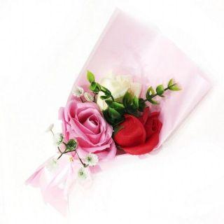 Подарочное парфюмированное мыло Букет 3 розы в упаковке, 25 см, Цвет: Светло-розовый