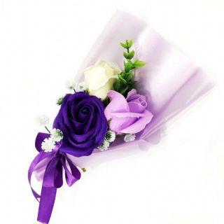 Подарочное парфюмированное мыло Букет 3 розы в упаковке, 25 см, Цвет: Фиолетовый