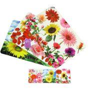 """Набор термосалфеток 8шт (4шт 42x28см + 4шт 9x9см), ПВХ, """"Цветы"""", 3 дизайна"""
