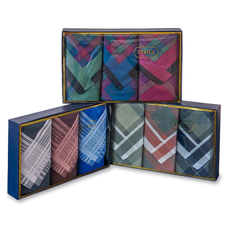 Пд60 Мужские носовые платки с silk-эффектом в подарочной коробке, 3 шт., 100% х/б