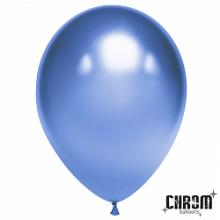 """Шар (12""""/ 30 см), синий, хром, 50 шт"""