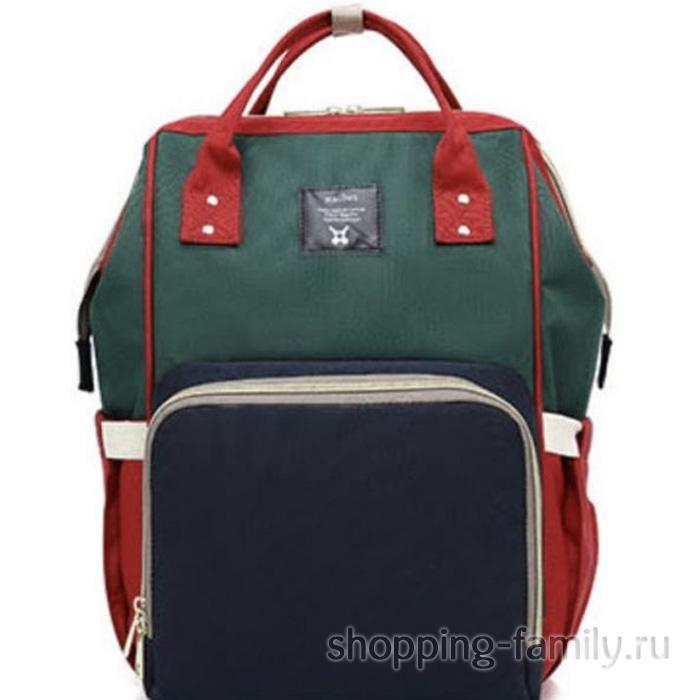 Сумка-рюкзак для мамы Mummy Bag, цвет красный-зелёный-синий