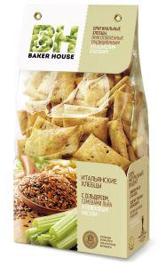 Baker House хлебцы итальянские с сельдереем, семенами льна и оливковым маслом, 250 г