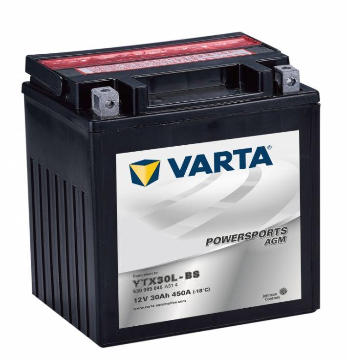 Мото аккумулятор АКБ VARTA (ВАРТА) AGM 530 905 045 A514 YTX30L-BS 30Ач о.п.