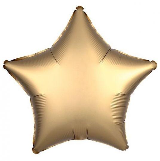 Звезда золотая САТИН шар фольгированный с гелием