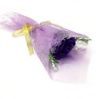 Букет из парфюмированного мыла в бумажной упаковке, 40 см, Фиолетовый