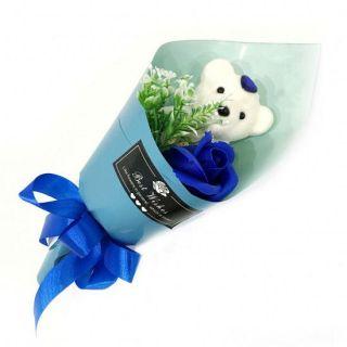 Букет из парфюмированного мыла в виде розы с игрушкой Best Wishes, 25 см, Синий
