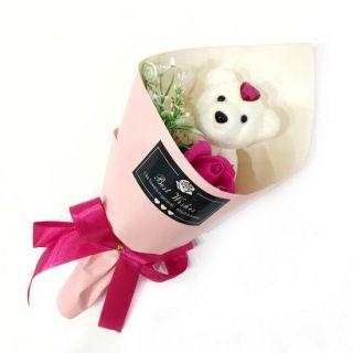 Букет из парфюмированного мыла в виде розы с игрушкой Best Wishes, 25 см, Тёмно-розовый