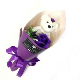 Букет из парфюмированного мыла в виде розы с игрушкой Best Wishes, 25 см, Фиолетовый