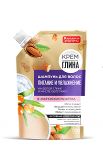 Шампунь для волос Питание и увлажнение серии «Крем-глина Народные рецепты» 100 мл, дойпак