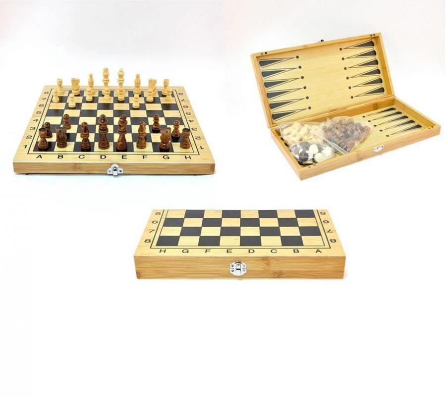 Настольная игра 3 в 1 Шахматы, Шашки, Нарды (деревянные)