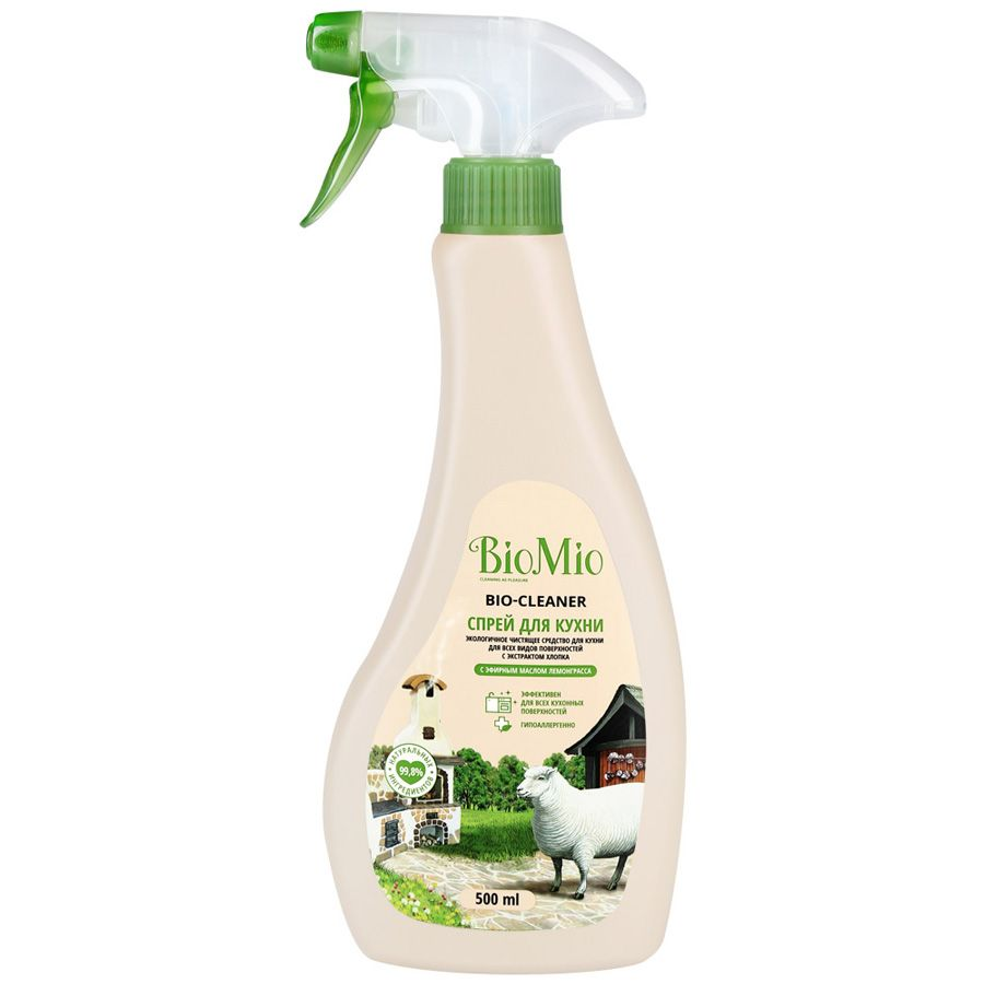 BioMio Bio-Kitchen Cleaner Экологичное чистящее средство для кухни с экстрактом хлопка и ионами серебра с эфирным маслом лемонграсса 500 мл с распылителем
