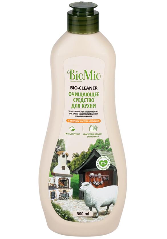 BioMio Bio-Kitchen Cleaner Экологичное чистящее средство для кухни с экстрактом хлопка и ионами серебра с эфирным маслом апельсина 500 мл