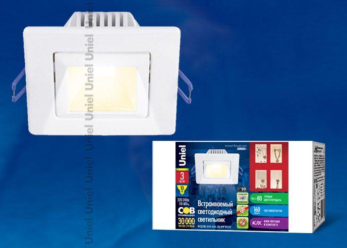 Встраиваемый светильник Uniel ULМ-S61A-3W/WW