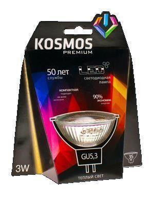 Светодиодная лампа KOSMOS MR16 GU5.3 220V 5W 3000K 2K 50x45 premium KLED5wMR16GU53230v27