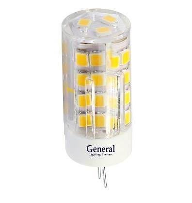 Светодиодная лампа General G4 220V 5W(410lm) 4500K 4K 45x16 пластик, прозрач. BL5 (цена за 1шт.) 652100