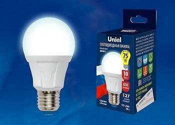 Светодиодная лампа Uniel ЛОН A60 E27 10W(850lm 270°) 6400K 6K матовая 60x110 термопл. ЯРКАЯ LED-A60 10W/DW/E27/FR РФ