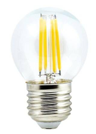 Светодиодная лампа Ecola шар G45 E27 6W 2700K 2K 360° 68x45 филамент (нитевидная), прозр. Premium N7PW60ELC