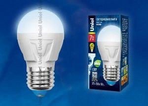 Светодиодная лампа Uniel шар G45 E27 7W(600lm 240°) 4000K 4K матовая 45x84 термопл. ЯРКАЯ LED-G45 7W/NW/E27/FR РФ