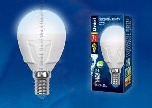 Светодиодная лампа Uniel шар G45 E14 7W(600lm 240°) 4000K 4K матовая 45x84 термопл. ЯРКАЯ LED-G45 7W/NW/E14/FR РФ