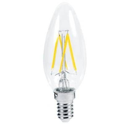 Светодиодная лампа Ecola свеча E14 5W 2700K 2K 360° 96x37 филамент (нитевидная), прозр. Premium N4QW50ELC