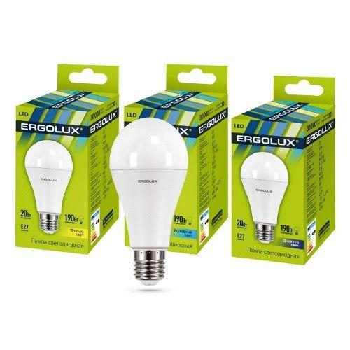 Светодиодная лампа Ergolux ЛОН A65 E27 20W(2000lm 270°) 6500K 6K матовая 134x65 пластик/алюм. LED-A65-20W-E27-6K