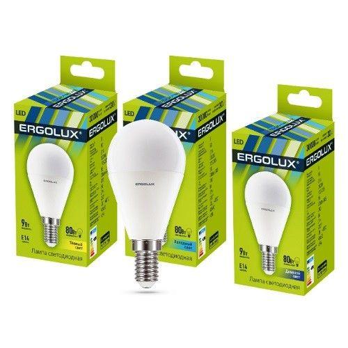 Светодиодная лампа Ergolux шар G45 E14 9W(780lm 220°) 4500K 4K матовая 92x45 пластик/алюм. LED-G45-9W-E14-4K