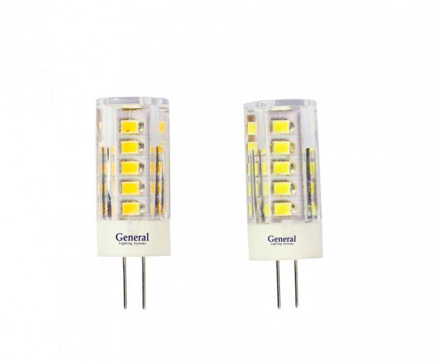 Светодиодная лампа General G4 12V 5W 2700K 2K 45x16 пластик. прозрач. BL5 653200