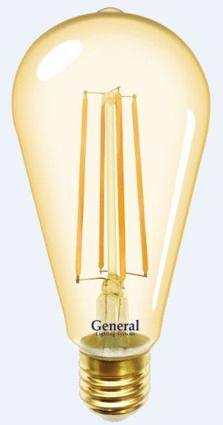 Светодиодная лампа General LOFT ST64S E27 10W 2700K 2K 64x140 филамент (нитевидная) золотая 655302