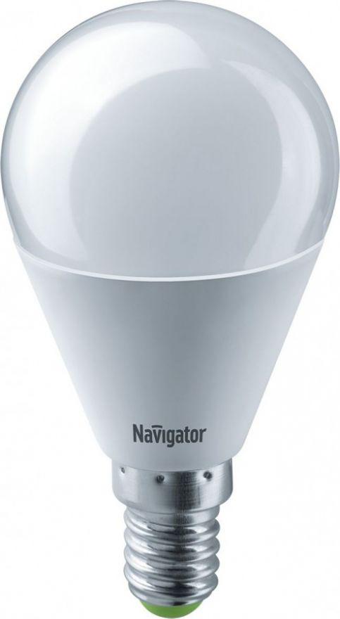 Светодиодная лампа Navigator Шар G45 E14 8,5W(730Lm) 6500 6K мат. 45*90 NLL-G45-8.5-230-6.5K-E14 61335