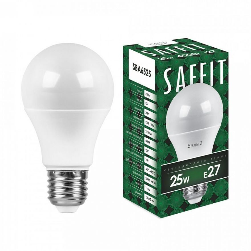 Светодиодная лампа Saffit ЛОН А60 E27 25W(2150lm 220°) 4000K 4K матовая 136x65  SBA6025 55088