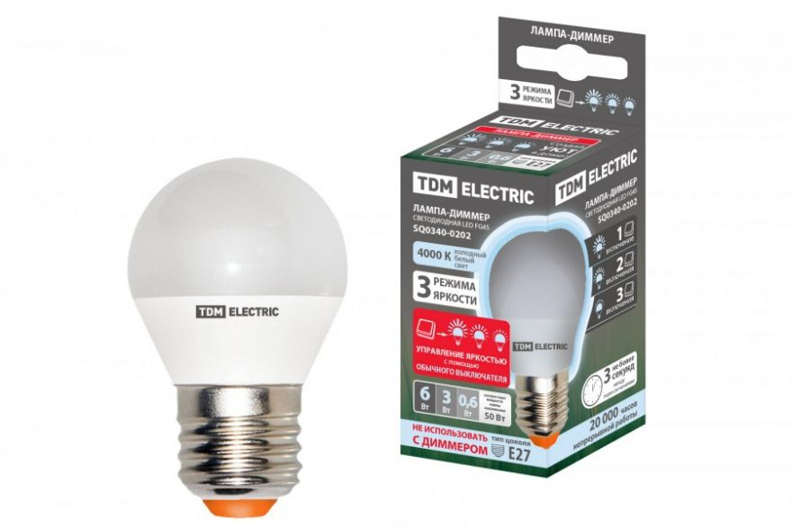 Светодиодная лампа TDM лампа FG45-6 Вт-230 В-3000 К–E27 ''Лампа-ДИММЕР'' SQ0340-0203
